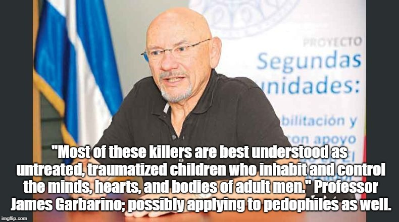 "Abused Children in Adult Bodies |  ""Most of these killers are best understood as untreated, traumatized children who inhabit and control the minds, hearts, and bodies of adult men."" Professor James Garbarino; possibly applying to pedophiles as well. 