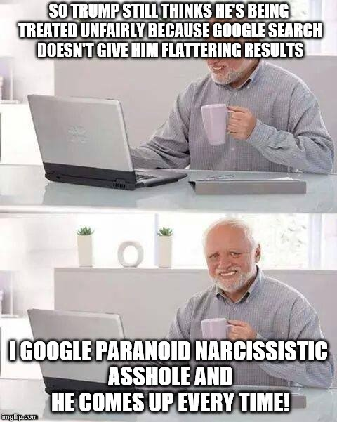 Or tangerine nightmare or idiot-in-chief or the Main Twit or whatever applies at the moment! | SO TRUMP STILL THINKS HE'S BEING TREATED UNFAIRLY BECAUSE GOOGLE SEARCH DOESN'T GIVE HIM FLATTERING RESULTS I GOOGLE PARANOID NARCISSISTIC A | image tagged in memes,hide the pain harold,dump trump,trump is a moron,social media | made w/ Imgflip meme maker