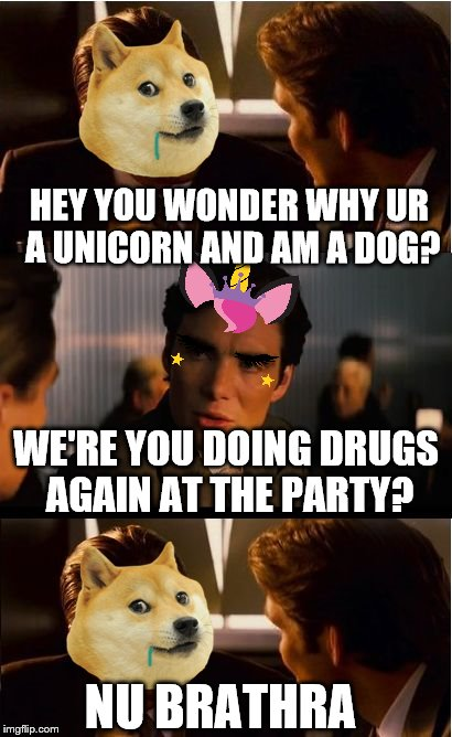 IDK WUT HAPPEN I WASN'T THERE!?! | HEY YOU WONDER WHY UR A UNICORN AND AM A DOG? WE'RE YOU DOING DRUGS AGAIN AT THE PARTY? NU BRATHRA | image tagged in memes,inception,doge,unicorn | made w/ Imgflip meme maker