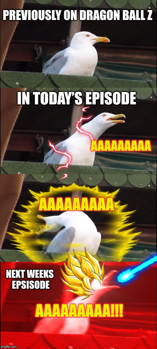 Oh cmon'! , How many episodes is this gonna take!? | PREVIOUSLY ON DRAGON BALL Z IN TODAY'S EPISODE NEXT WEEKS EPSISODE AAAAAAAAA!!! AAAAAAAAA AAAAAAAAA | image tagged in memes,inhaling seagull,dbz | made w/ Imgflip meme maker
