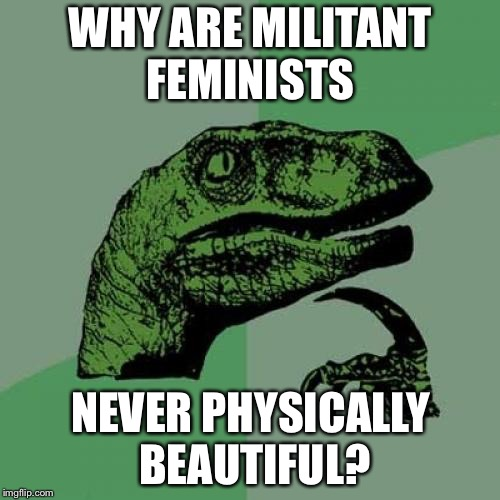 Philosoraptor Meme | WHY ARE MILITANT FEMINISTS NEVER PHYSICALLY BEAUTIFUL? | image tagged in memes,philosoraptor | made w/ Imgflip meme maker