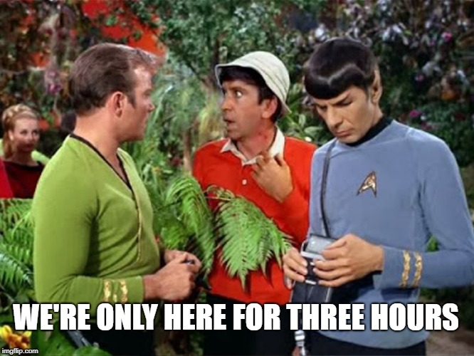 WE'RE ONLY HERE FOR THREE HOURS | image tagged in gilligan's island,mandela effect,star trek,tripping,tour,going to need a bigger boat | made w/ Imgflip meme maker