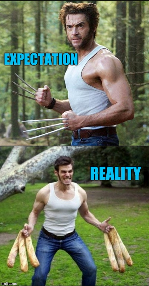 Fail Week, August 27th to September 3rd a landon_the_memer event. |  EXPECTATION; REALITY | image tagged in jbmemegeek,wolverine,x men,hugh jackman,fail week,expectation vs reality | made w/ Imgflip meme maker