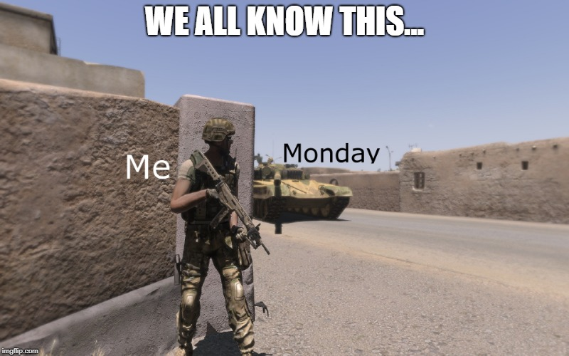 Mondays | WE ALL KNOW THIS... | image tagged in monday mornings,mondays | made w/ Imgflip meme maker