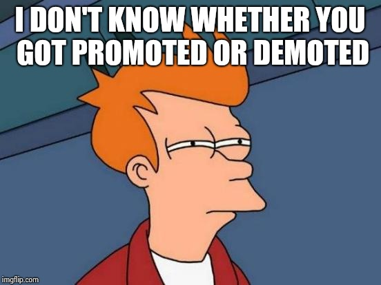 Futurama Fry Meme | I DON'T KNOW WHETHER YOU GOT PROMOTED OR DEMOTED | image tagged in memes,futurama fry | made w/ Imgflip meme maker