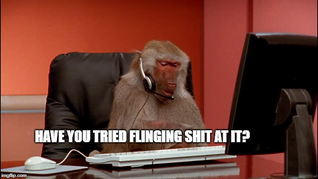 HAVE YOU TRIED FLINGING SHIT AT IT? | image tagged in monkey | made w/ Imgflip meme maker