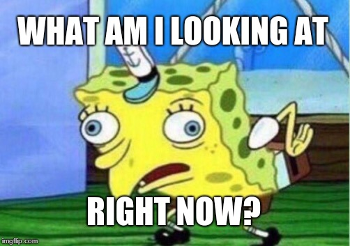 WHAT AM I LOOKING AT RIGHT NOW? | image tagged in memes,mocking spongebob | made w/ Imgflip meme maker