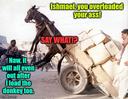 Fail Week:  overloading your own ass! | Ishmael, you overloaded your ass! Naw, it will all even out after I load the donkey too. SAY WHAT!? | image tagged in memes,fail week,donkey,overload,funny memes | made w/ Imgflip meme maker