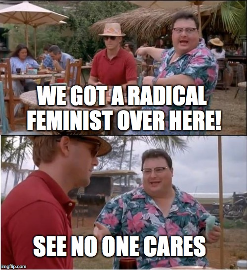 See Nobody Cares Meme | WE GOT A RADICAL FEMINIST OVER HERE! SEE NO ONE CARES | image tagged in memes,see nobody cares | made w/ Imgflip meme maker
