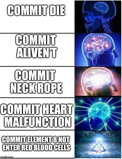 Expanding Brain 5 Panel | COMMIT DIE COMMIT ALIVEN'T COMMIT NECK ROPE COMMIT HEART MALFUNCTION COMMIT ELEMENT 8 NOT ENTER RED BLOOD CELLS | image tagged in expanding brain 5 panel | made w/ Imgflip meme maker
