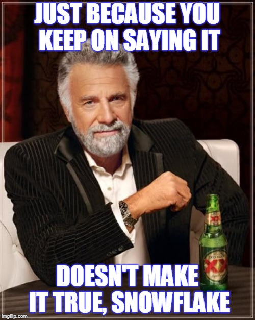 The Most Interesting Man In The World Meme | JUST BECAUSE YOU KEEP ON SAYING IT DOESN'T MAKE IT TRUE, SNOWFLAKE | image tagged in memes,the most interesting man in the world | made w/ Imgflip meme maker