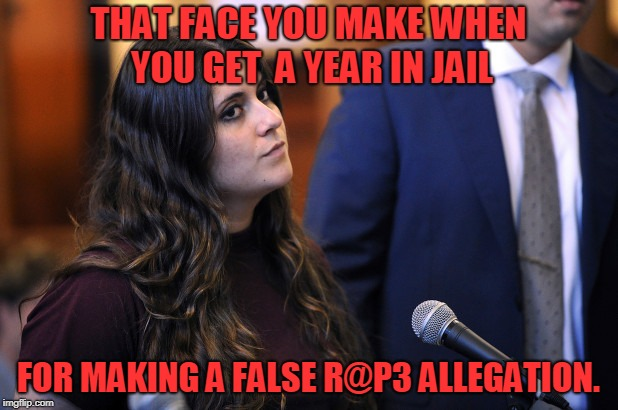 If you ask me she should get a lot longer than a year.  | THAT FACE YOU MAKE WHEN YOU GET  A YEAR IN JAIL FOR MAKING A FALSE R@P3 ALLEGATION. | image tagged in prison,memes,false accusations,nixieknox | made w/ Imgflip meme maker