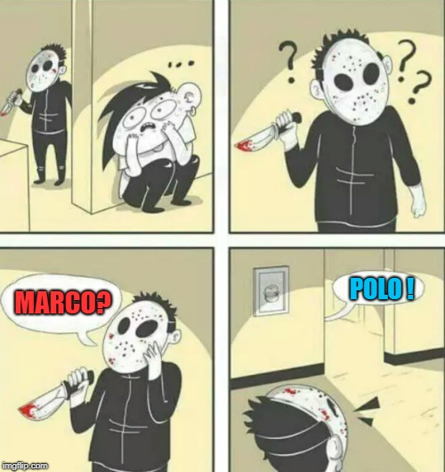 Hiding from killer | MARCO? POLO ! | image tagged in memes,funny memes,hiding from serial killer,game | made w/ Imgflip meme maker