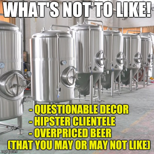 Micro-Breweries:  It's All About the Kettles |  WHAT'S NOT TO LIKE! - QUESTIONABLE DECOR - HIPSTER CLIENTELE       - OVERPRICED BEER          (THAT YOU MAY OR MAY NOT LIKE) | image tagged in microbreweries,bars,craft beer | made w/ Imgflip meme maker