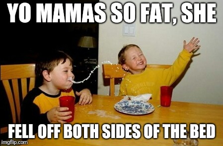 Yo Mamas So Fat She Fell... |  YO MAMAS SO FAT, SHE; FELL OFF BOTH SIDES OF THE BED | image tagged in memes,yo mamas so fat | made w/ Imgflip meme maker