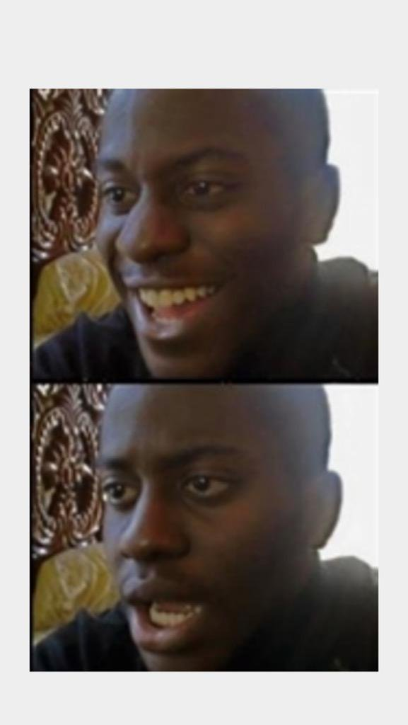 High Quality Happy then Sad Black Man Blank Meme Template