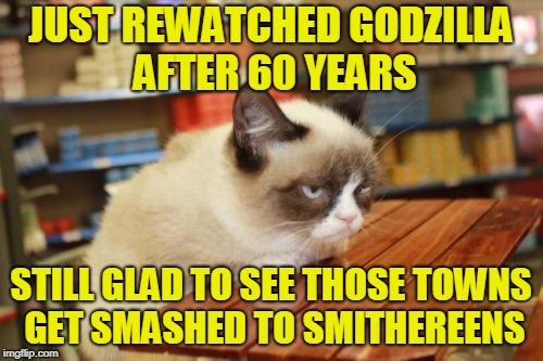 Grumpy Cat Table Meme | JUST REWATCHED GODZILLA AFTER 60 YEARS STILL GLAD TO SEE THOSE TOWNS GET SMASHED TO SMITHEREENS | image tagged in memes,grumpy cat table,grumpy cat | made w/ Imgflip meme maker