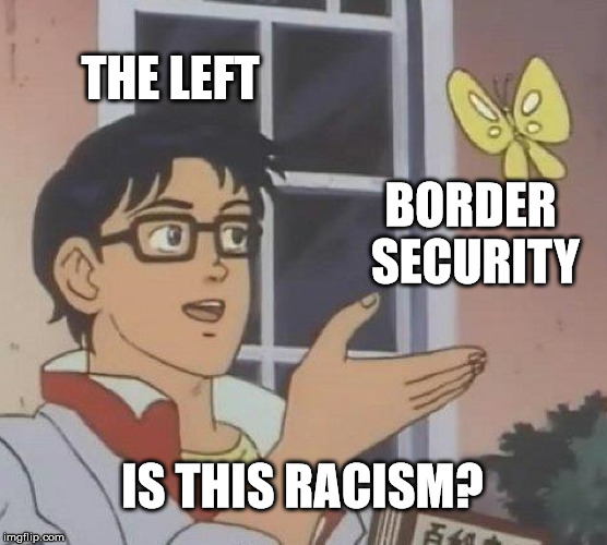 Is Border Security Racism? | THE LEFT BORDER SECURITY IS THIS RACISM? | image tagged in memes,is this a pigeon,secure the border,donald trump,trump,fake news | made w/ Imgflip meme maker