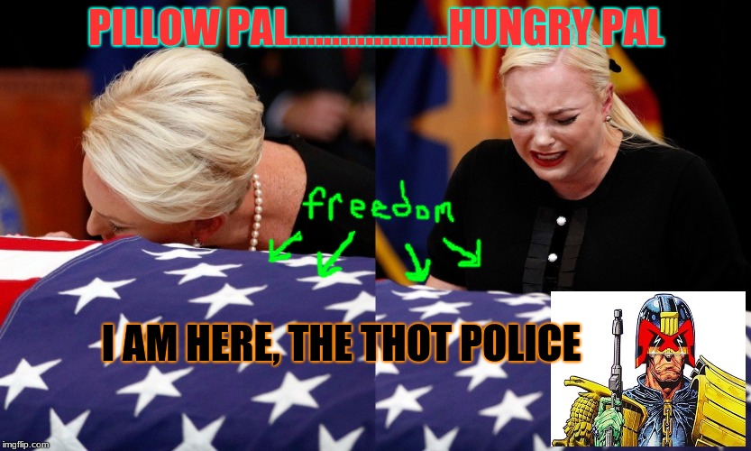 Thots & Prayers / RIP McCain | PILLOW PAL...................HUNGRY PAL I AM HERE, THE THOT POLICE | image tagged in john mccain,funeral,judge dredd,thot,thoughts and prayers | made w/ Imgflip meme maker
