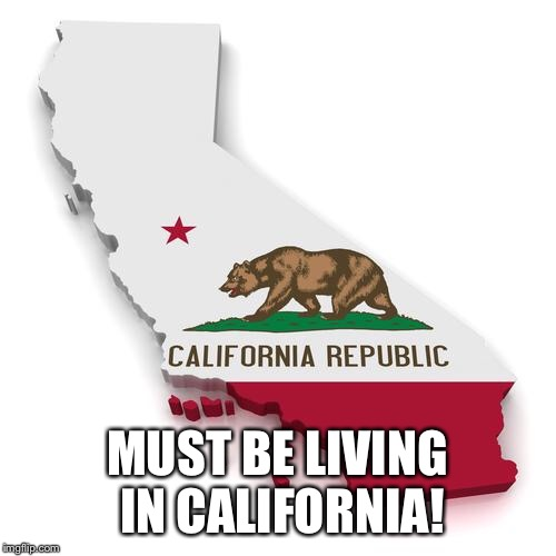 California | MUST BE LIVING IN CALIFORNIA! | image tagged in california | made w/ Imgflip meme maker