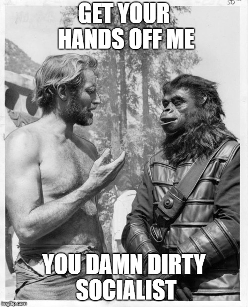 Planet of the apes | GET YOUR HANDS OFF ME YOU DAMN DIRTY SOCIALIST | image tagged in planet of the apes | made w/ Imgflip meme maker