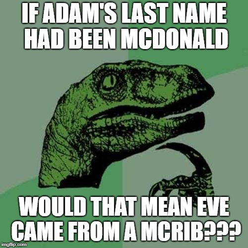 Hmmmm.... | IF ADAM'S LAST NAME HAD BEEN MCDONALD WOULD THAT MEAN EVE CAME FROM A MCRIB??? | image tagged in memes,philosoraptor,adam and eve,mcdonalds,the bible | made w/ Imgflip meme maker