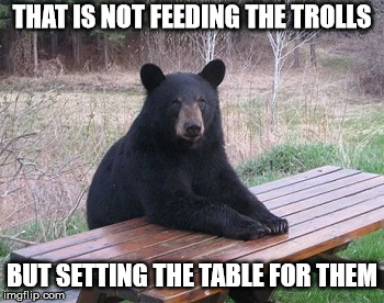 Dont Feed the Bears | THAT IS NOT FEEDING THE TROLLS BUT SETTING THE TABLE FOR THEM | image tagged in dont feed the bears | made w/ Imgflip meme maker
