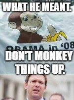 desantis | WHAT HE MEANT. DON'T MONKEY THINGS UP. | image tagged in political meme | made w/ Imgflip meme maker