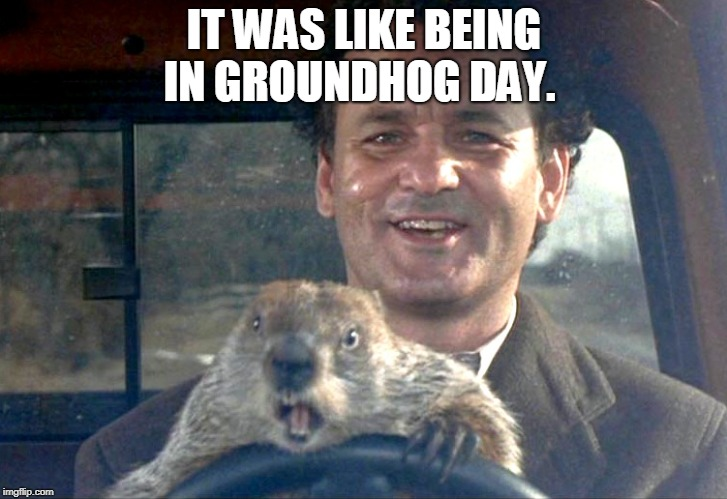 Ground Hog Day Bill Murray | IT WAS LIKE BEING IN GROUNDHOG DAY. | image tagged in ground hog day bill murray | made w/ Imgflip meme maker