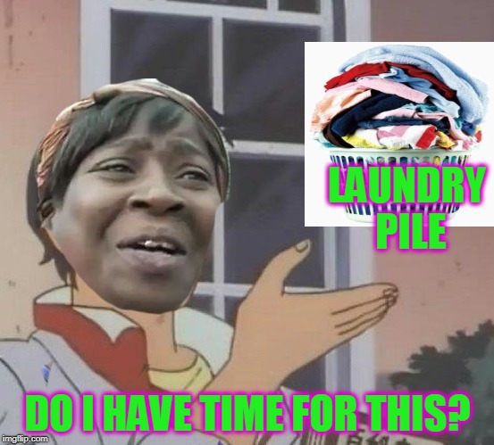The chore that never ends. LOL | LAUNDRY PILE DO I HAVE TIME FOR THIS? | image tagged in sweet brown,nixieknox,memes | made w/ Imgflip meme maker