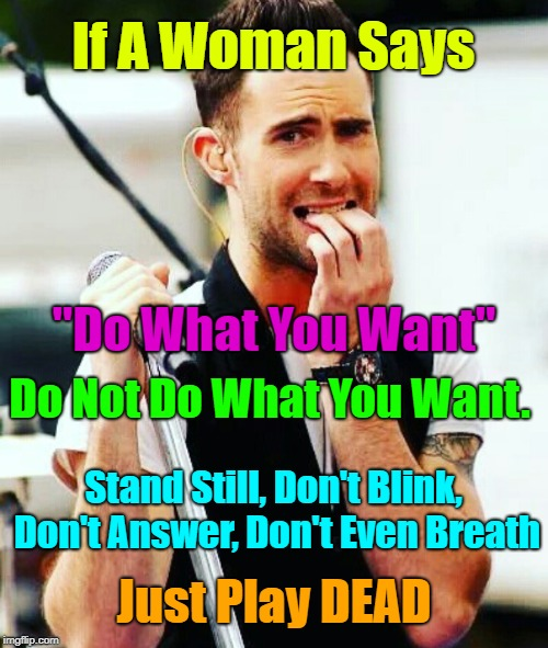 "Yep | If A Woman Says ""Do What You Want"" Stand Still, Don't Blink, Don't Answer, Don't Even Breath Just Play DEAD Do Not Do What You Want. 