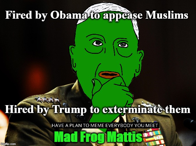 Mad Frog Mattis: Fired by Obama to appease Muslims |  Fired by Obama to appease Muslims; Hired by Trump to exterminate them; Mad Frog Mattis | image tagged in mad dog mattis,have a plan to meme everybody you meet,mad frog mattis | made w/ Imgflip meme maker