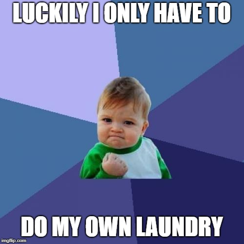Success Kid Meme | LUCKILY I ONLY HAVE TO DO MY OWN LAUNDRY | image tagged in memes,success kid | made w/ Imgflip meme maker