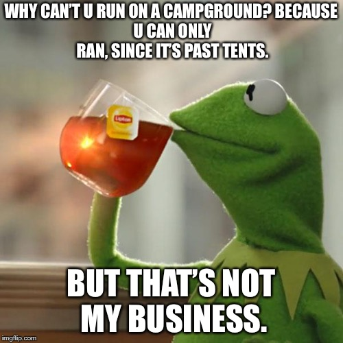 But Thats None Of My Business Meme | WHY CAN'T U RUN ON A CAMPGROUND?BECAUSE U CAN ONLY RAN, SINCE IT'S PAST TENTS. BUT THAT'S NOT MY BUSINESS. | image tagged in memes,but thats none of my business,kermit the frog | made w/ Imgflip meme maker