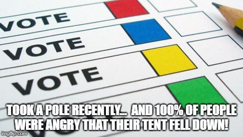 political poll | TOOK A POLE RECENTLY...  AND 100% OF PEOPLE WERE ANGRY THAT THEIR TENT FELL DOWN! | image tagged in political poll | made w/ Imgflip meme maker