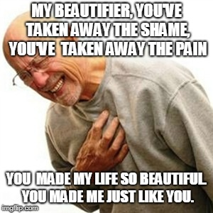 Right In The Childhood |  MY BEAUTIFIER, YOU'VE TAKEN AWAY THE SHAME, YOU'VE  TAKEN AWAY THE PAIN; YOU  MADE MY LIFE SO BEAUTIFUL. YOU MADE ME JUST LIKE YOU. | image tagged in memes,right in the childhood | made w/ Imgflip meme maker