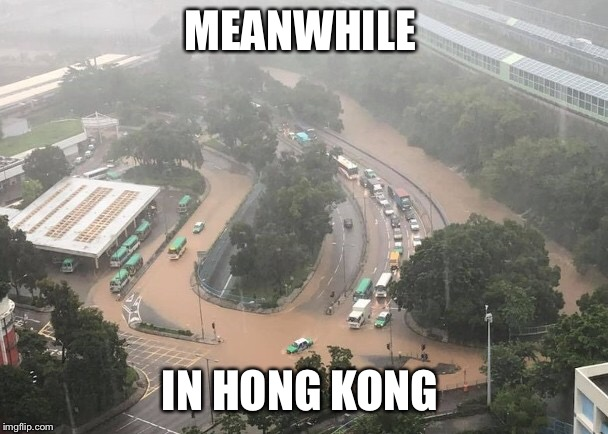 What happened yesterday in Hong Kong  | MEANWHILE IN HONG KONG | image tagged in flood,bus stop,meanwhile in | made w/ Imgflip meme maker