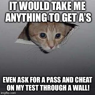 Ceiling Cat | IT WOULD TAKE ME ANYTHING TO GET A'S EVEN ASK FOR A PASS AND CHEAT ON MY TEST THROUGH A WALL! | image tagged in memes,ceiling cat | made w/ Imgflip meme maker