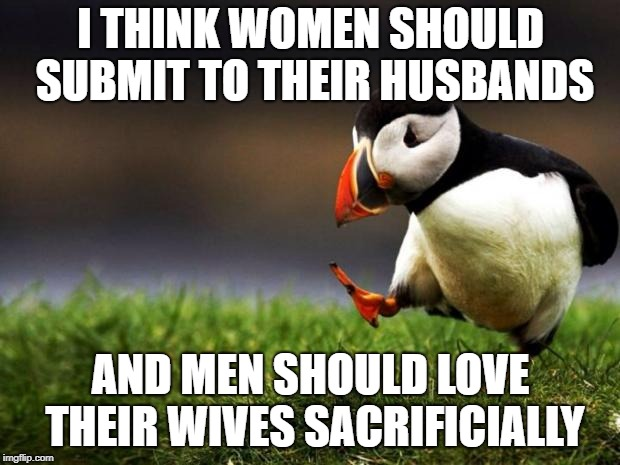 Unpopular Opinion Puffin Meme | I THINK WOMEN SHOULD SUBMIT TO THEIR HUSBANDS AND MEN SHOULD LOVE THEIR WIVES SACRIFICIALLY | image tagged in memes,unpopular opinion puffin | made w/ Imgflip meme maker