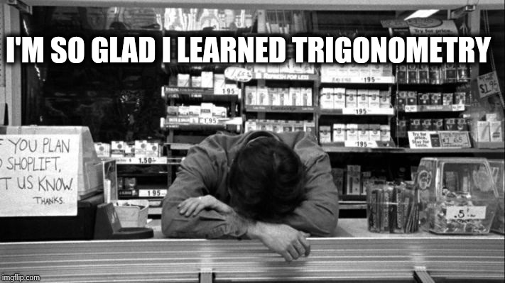 Clerks | I'M SO GLAD I LEARNED TRIGONOMETRY | image tagged in clerks | made w/ Imgflip meme maker