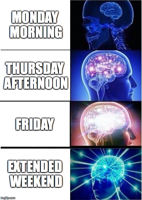 Happy Labor Day weekend everyone! | MONDAY MORNING THURSDAY AFTERNOON FRIDAY EXTENDED WEEKEND | image tagged in memes,expanding brain,labor day,weekend,friday,holiday | made w/ Imgflip meme maker