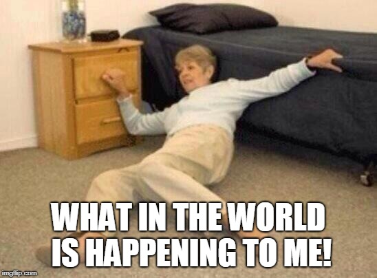 woman falling in shock | WHAT IN THE WORLD IS HAPPENING TO ME! | image tagged in woman falling in shock | made w/ Imgflip meme maker