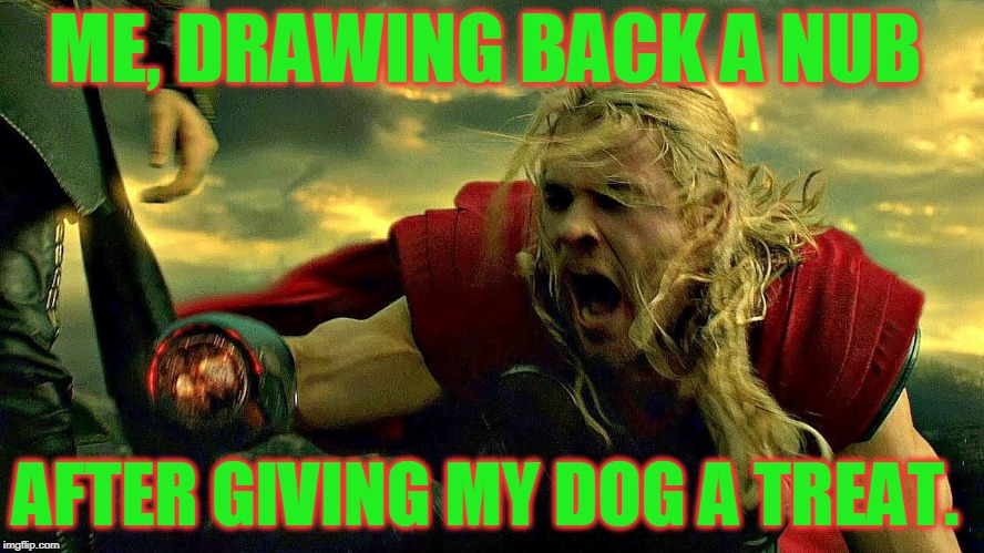 I have learned to just drop whatever I am feeding him in mid-air to avoid getting my hand eaten.  | ME, DRAWING BACK A NUB AFTER GIVING MY DOG A TREAT. | image tagged in thor,memes,nixieknox | made w/ Imgflip meme maker