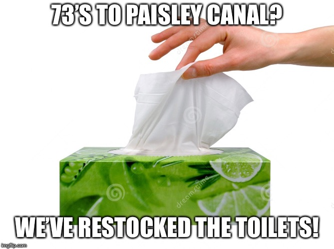 Kleenex | 73'S TO PAISLEY CANAL? WE'VE RESTOCKED THE TOILETS! | image tagged in kleenex | made w/ Imgflip meme maker