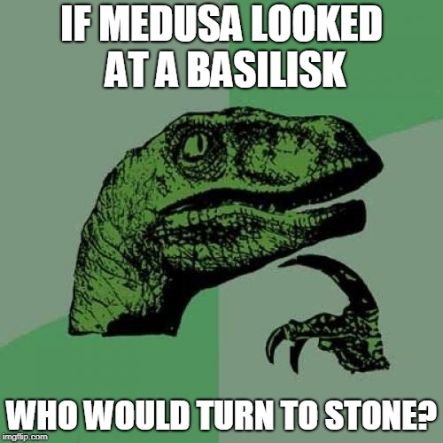 Philosoraptor Meme | IF MEDUSA LOOKED AT A BASILISK WHO WOULD TURN TO STONE? | image tagged in memes,philosoraptor | made w/ Imgflip meme maker
