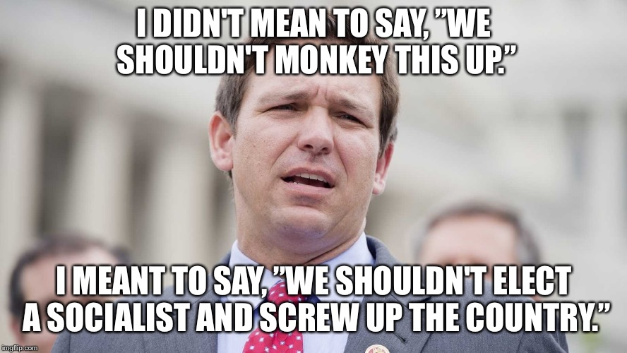 "Ron Desantis | I DIDN'T MEAN TO SAY, ""WE SHOULDN'T MONKEY THIS UP."" I MEANT TO SAY, ""WE SHOULDN'T ELECT A SOCIALIST AND SCREW UP THE COUNTRY."" 