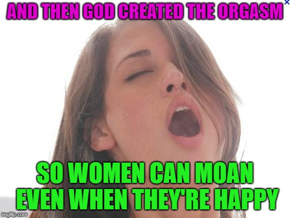 Oh mY | AND THEN GOD CREATED THE ORGASM SO WOMEN CAN MOAN EVEN WHEN THEY'RE HAPPY | image tagged in orgasm,memes,funny,face | made w/ Imgflip meme maker