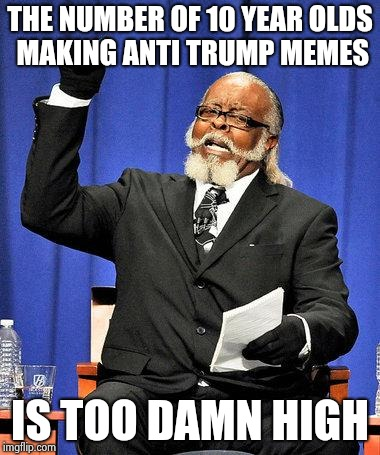 Too High | THE NUMBER OF 10 YEAR OLDS MAKING ANTI TRUMP MEMES IS TOO DAMN HIGH | image tagged in too high | made w/ Imgflip meme maker