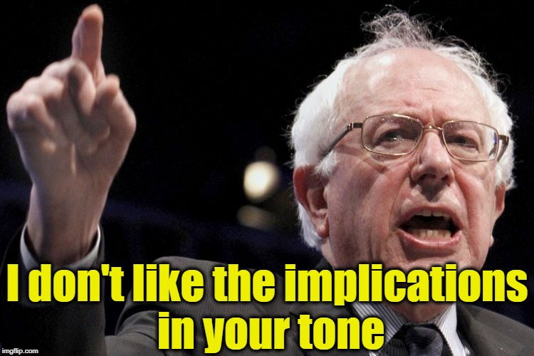 Bernie Sanders | I don't like the implications in your tone | image tagged in bernie sanders | made w/ Imgflip meme maker