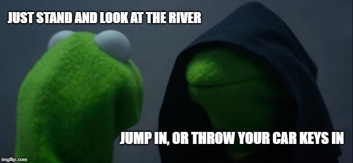Impulsive thoughts can creep up on you like this... | JUST STAND AND LOOK AT THE RIVER JUMP IN, OR THROW YOUR CAR KEYS IN | image tagged in memes,evil kermit,stupid people | made w/ Imgflip meme maker